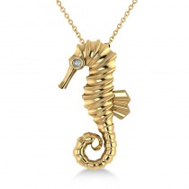 Diamond Summertime Seahorse Pendant Necklace 14k Yellow Gold (0.01ct)