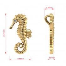 Diamond Summertime Seahorse Pendant Necklace 14k Yellow Gold (0.01ct)