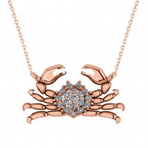 Diamond Island Crab Pendant Necklace 14K Rose Gold (0.23ct)