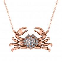 Diamond Island Crab Pendant Necklace 14K Rose Gold (0.23ct)
