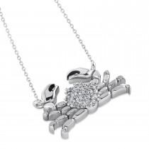 Diamond Island Crab Pendant Necklace 14K White Gold (0.23ct)