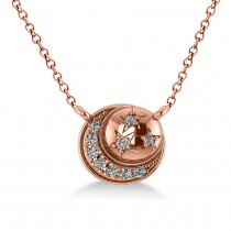 Diamond Crescent Moon & Stars Pendant Necklace 14k Rose Gold (0.14ct)
