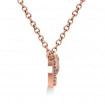 Diamond Crescent Moon & Stars Pendant Necklace 14k Rose Gold (0.14ct)
