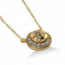 Diamond Crescent Moon & Stars Pendant Necklace 14k Yellow Gold 0.14ct