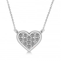 Diamond Heart Pendant Necklace 14k White Gold (0.13ct)