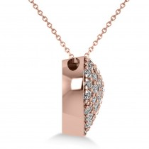 Pave Diamond Puffed Heart Pendant Necklace 14k Rose Gold (1.38ct)