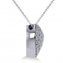 Pave Diamond Puffed Heart Pendant Necklace 14k White Gold (1.38ct)