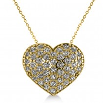 Pave Diamond Puffed Heart Pendant Necklace 14k Yellow Gold (1.38ct)