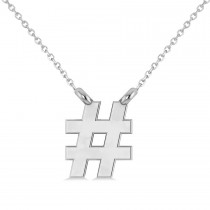 Hashtag Pendant Necklace 14K White Gold