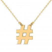 Hashtag Pendant Necklace 14K Yellow Gold