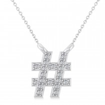 Diamond Hashtag Fashion Pendant Necklace 14K White Gold (0.10ct)
