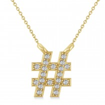 Diamond Hashtag Fashion Pendant Necklace 14K Yellow Gold (0.10ct)