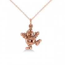 Happy Snowman Pendant Necklace 14k Rose Gold