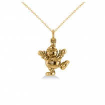Happy Snowman Pendant Necklace 14k Yellow Gold