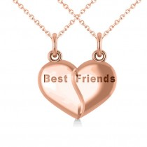 Best Friend Break Apart Pendant Necklace 14k Rose Gold