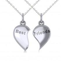Best Friend Break Apart Pendant Necklace 14k White Gold|escape