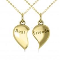 Best Friend Break Apart Pendant Necklace 14k Yellow Gold