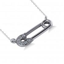 Horizontal Diamond Safety Pin Pendant Necklace 14k White Gold (0.07ct)