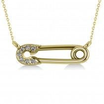 Horizontal Diamond Safety Pin Pendant Necklace 14k Yellow Gold (0.07ct)