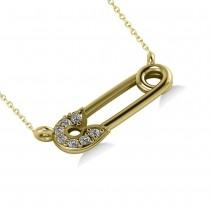 Horizontal Diamond Safety Pin Pendant Necklace 14k Yellow Gold (0.07ct)