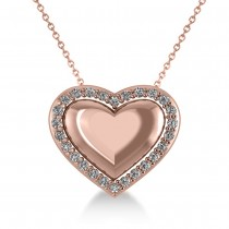 Puffed Heart Diamond Pendant Necklace 14k Rose Gold (0.26ct)