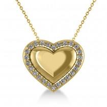 Puffed Heart Diamond Pendant Necklace 14k Yellow Gold (0.26ct)