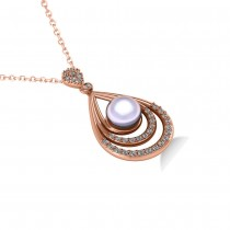 Pearl & Diamond Tear Drop Pendant Necklace 14k Rose Gold (0.46ct)|escape
