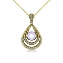 Pearl & Diamond Tear Drop Pendant Necklace 14k Yellow Gold (0.46ct)