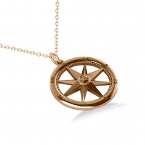 Nautical Compass Pendant Necklace Plain Metal 14k Rose Gold