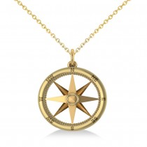 Nautical Compass Pendant Necklace Plain Metal 14k Yellow Gold