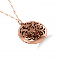 Antique Floral Locket Pendant Necklace 14k Rose Gold