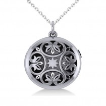 Antique Floral Locket Pendant Necklace 14k White Gold