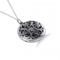 Antique Floral Locket Pendant Necklace 14k White Gold|escape