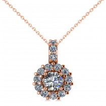 Round Diamond Halo Pendant Necklace 14k Rose Gold (0.53ct)