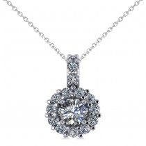 Round Diamond Halo Pendant Necklace 14k White Gold (0.53ct)