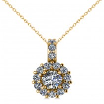 Round Diamond Halo Pendant Necklace 14k Yellow Gold (0.53ct)