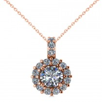 Round Diamond Halo Pendant Necklace 14k Rose Gold (0.80ct)