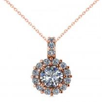 Round Diamond Halo Pendant Necklace 14k Rose Gold (0.80ct)