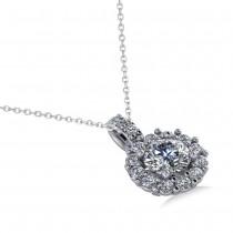 Round Diamond Halo Pendant Necklace 14k White Gold (0.80ct)