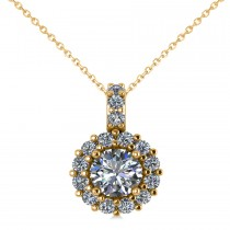 Round Diamond Halo Pendant Necklace 14k Yellow Gold (0.80ct)