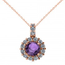 Round Amethyst & Diamond Halo Pendant Necklace 14k Rose Gold (0.70ct)