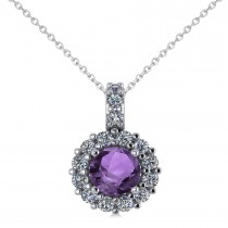 Round Amethyst & Diamond Halo Pendant Necklace 14k White Gold (0.70ct)