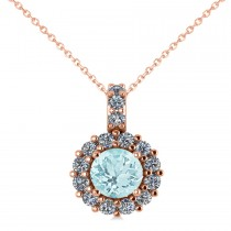 Round Aquamarine & Diamond Halo Pendant Necklace 14k Rose Gold (0.75ct)