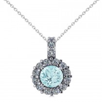 Round Aquamarine & Diamond Halo Pendant Necklace 14k White Gold (0.75ct)