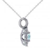 Round Aquamarine & Diamond Halo Pendant Necklace 14k White Gold (0.75ct)|escape