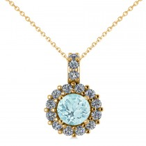 Round Aquamarine & Diamond Halo Pendant Necklace 14k Yellow Gold (0.75ct)