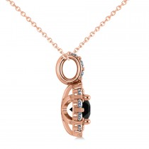 Round Black Diamond & Diamond Halo Pendant Necklace 14k Rose Gold (0.80ct)