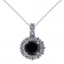 Round Black Diamond & Diamond Halo Pendant Necklace 14k White Gold (0.80ct)