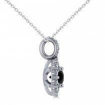 Round Black Diamond & Diamond Halo Pendant Necklace 14k White Gold (0.80ct)|escape