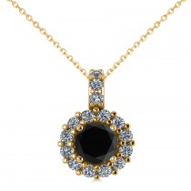 Round Black Diamond & Diamond Halo Pendant Necklace 14k Yellow Gold (0.80ct)